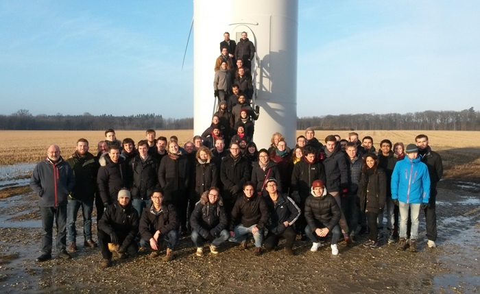 Students from the 2017 edition of Wind farm planning and development at Knuthenborg wind farm on Lolland, Denmark. Photo: Tom Cronin
