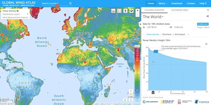 Map of mean power density at 100 metres above ground level (graphic courtesy of the World Bank). Maps are just one kind of representation and use of the Global Wind Atlas 2.0 data sets.