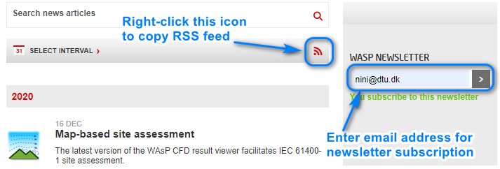 How to subscribe to newsletter or RSS feed.