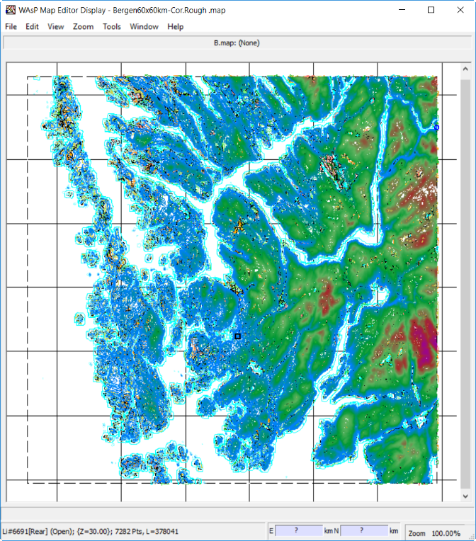 The Norwegian city of Bergen and surroundings seen in the WAsP Map Editor: Topographical data (elevation and roughness) as imported from the Global Windatlas Mapserver.
